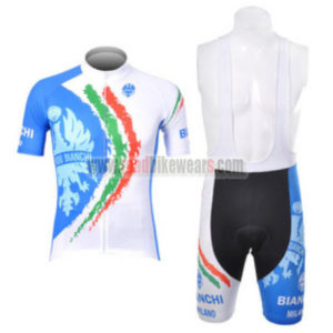 2012 Team BIANCHI Riding Outfit Cycle Jersey and Padded Bib Shorts Roupas  Bicicleta Blue White 6c57db056