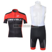 2012 Team CASTELLI Cycling Bib Kit Red Black