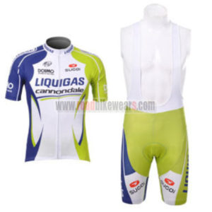 2012 Team LIQUIGAS Cannondale Riding Outfit Cycle Jersey and Padded Bib  Shorts Roupas Bicicleta White Green Blue 6151532ad
