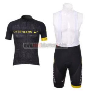 2012 Team LIVESTRONG Riding Outfit Cycle Jersey and Padded Bib Shorts  Roupas Bicicleta Black c611bda63