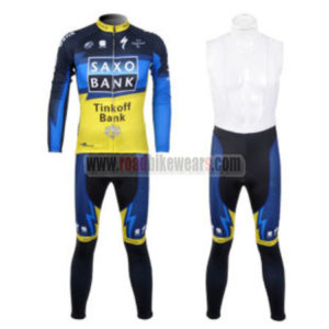 2012 Team SAXO BANK Cycling Long Bib Kit Blue Yellow
