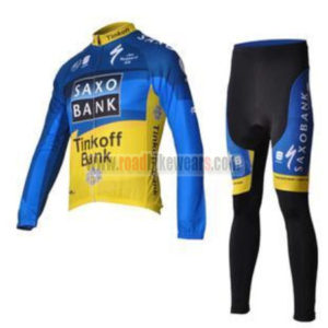 2012 Team SAXO BANK Cycling Long Kit Blue Yellow