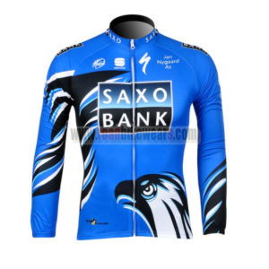 2012 Team SAXO BANK Cycling Long Sleeve Jersey Blue