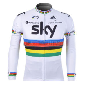 2012 Team SKY UCI Cycling Long Sleeve Jersey White Rainbow