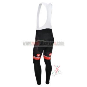 2013 Team CASTELLI Pro Bike Long Bib Pants Black Red