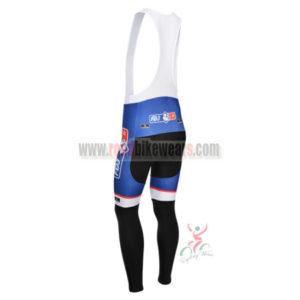 2013 Team FDJ Cycle Long Bib Pants Blue Black