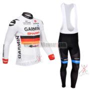 2013 Team GARMIN Cycling Long Bib Kit White