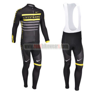 2013 Team LIVESTRONG Riding Outfit Biking Long Jersey and Padded Bib Pants  Tights Ropa De Ciclo Black Yellow d2e381587