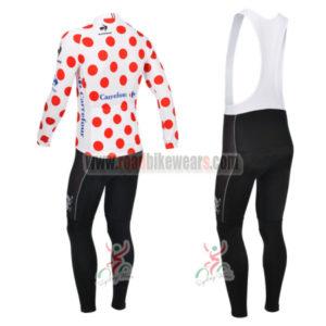 2013 Tour de France Pro Bicycle Long Sleeve Polka Dot Jersey Bibs Kit