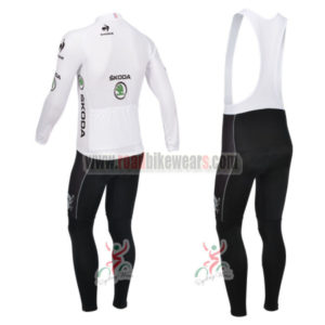 2013 Tour de France Pro Bike Long Sleeve White Jersey Bibs Kit