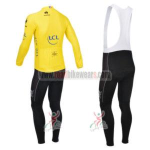 2013 Tour de France Pro Riding Long Sleeve Yellow Jersey Bibs Kit