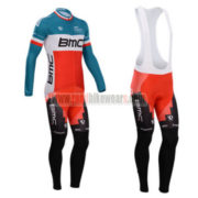 2014 Team BMC Pro Cycling Long Bib Kit Blue Red