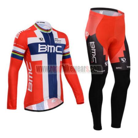 b6c9b200e 2014 Team BMC Winter Cycle Apparel Thermal Fleece Biking Long Jersey ...