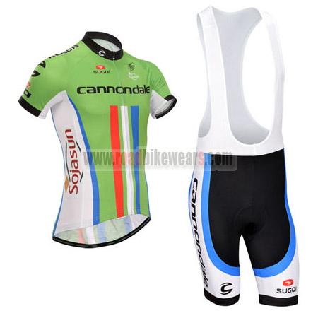 2014 Team Cannondale Sojasun Biking Uniform Bicycle Jersey and Padded Bib  Shorts Ropa De Ciclismo Green e23ac7b59