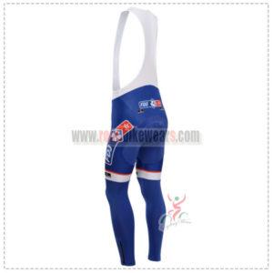 2014 Team FDJ Pro Riding Long Bib Pants Blue