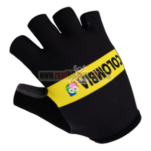 2015 Team COLOMBIA Cycling Gloves Mitts Half Fingers Black Yellowd