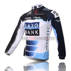 2010 Team SAXO BANK Cycle Long Jersey Black White Blue