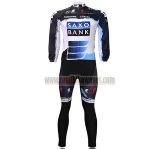 2010 Team SAXO BANK Cycle Long Kit Black White Blue