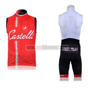 2011 Team Castelli Pro Riding Sleeveless Bib Kit Red