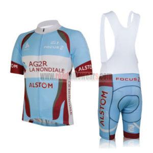2013 Team AG2R LA MONDIALE ALSOM Cycling Bib Kit Blue Red