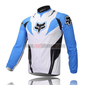 2013 Team FOX Cycle Long Jersey White Blue
