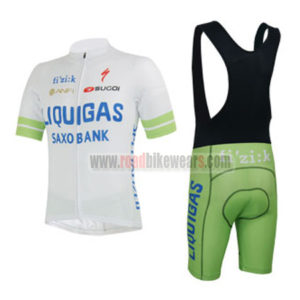 2013 Team LIQUIGAS SAXO BANK Biking Uniform Cycle Jersey and Padded Bib  Shorts Roupas Bicicleta White Green  ca2f3974f