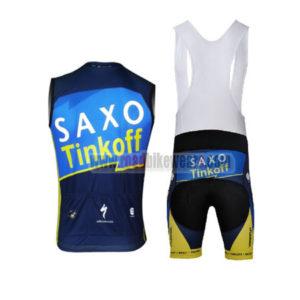 2013 Team SAXO BANK Pro Bike Sleeveless Bib Kit Blue Yellow
