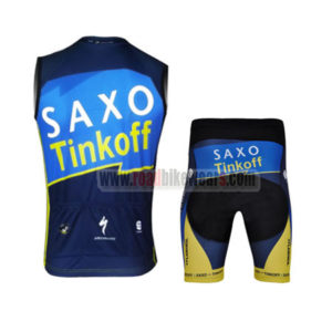 2013 Team SAXO BANK Pro Biking Sleeveless Kit Blue Yellow