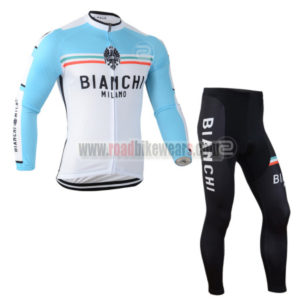 2014 Team BIANCHI Apparel Biking Long Jersey and Padded Pants Tights Roupas  De Ciclismo Blue White 4bb952955