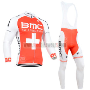 2014 Team BMC Cycle Apparel Biking Long Sleeves Jersey and Padded Bib Pants  Tights Roupas De Ciclismo Red White Cross 347042cb7