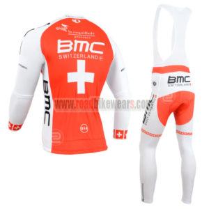 2014 Team BMC Riding Long Bib Kit Red White Cross