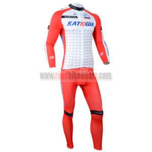 2014 Team KATUSHA Cycle Long Kit White Red