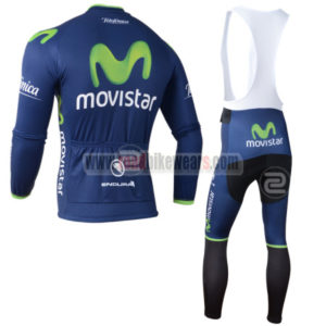 2014 Team Movistar Riding Long Bib Kit Blue