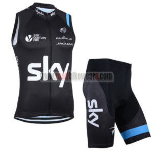 2014 Team SKY Cycling Vest Sleeveless Kit Black