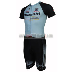 2015 Team BIANCHI Riding Skintight Wear Short Sleeves Cycle Leotard  One-piece Tights Black Blue 817aab414