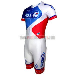 2015 Team FDJ Short Sleeves Triathlon Biking Apparel Skinsuit White Blue  Red ... 160718c65
