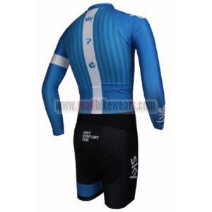 2015 Team SKY Long Sleeves Triathlon Racing Clothing Skinsuit Blue