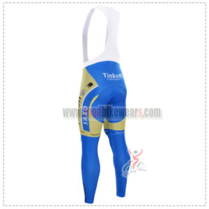 2015 Team Tinkoff SAXO BANK Riding Long Bib Pants Tights Yellow Blue