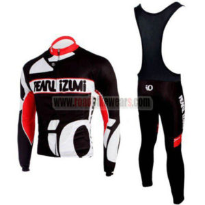 f59ed5298 2010 Team Pearl Izumi Winter Riding Apparel Thermal Fleece Biking Long  Sleeves Jersey and Padded Bib Pants Tights Roupas De Ciclismo Black Red