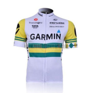 2011 Team GARMIN cervelo Cycle Short Sleeve Jersey White Yellow 7463ad15d