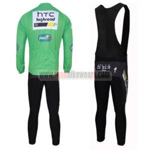 2011 Team HTC Highroad Cycle Long Black Bib Kit Green