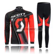 2011 Team SCOTT Cycling Long Kit Black Red