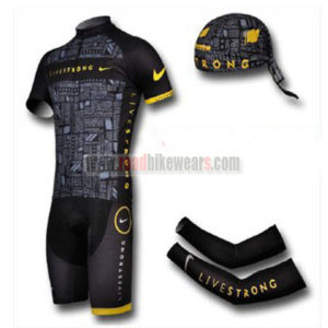 f11629c96 2012 Team LIVESTRONG Riding Outfit Set Cycle Jersey and Padded Shorts+Bandana+Arm  Sleeves Black