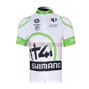 2012 Team 1t4i SHIMANO Cycling Maillot Jersey Shirt White Green