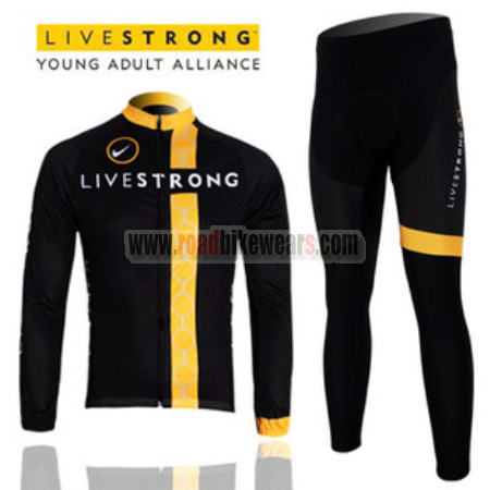 2012 Team LIVESTRONG Winter Cycle Apparel Thermal Fleece Biking Long Jersey  and Padded Pants Tights Roupas De Ciclismo Black Yellow c3c862e76