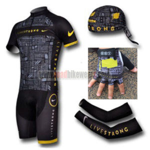 2012 Team LIVESTRONG Cycling Set Jersey and Shorts+Bandana+Gloves+Arm Sleeves Black
