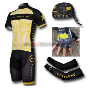 2012 Team LIVESTRONG Cycling Set Jersey and Shorts+Bandana+Gloves+Arm Sleeves Yellow