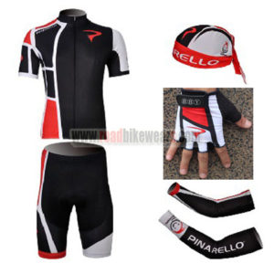 2012 Team PINARELLO Cycling Set Jersey and Shorts+Bandana+Gloves+Arm Sleeves Black