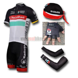 2012 Team RadioShack Cycling Set Jersey and Shorts+Bandana+Gloves+Arm Sleeves
