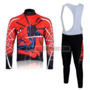 2012 Team Spiderman Cycling Long Sleeve Bib Kit Red Black